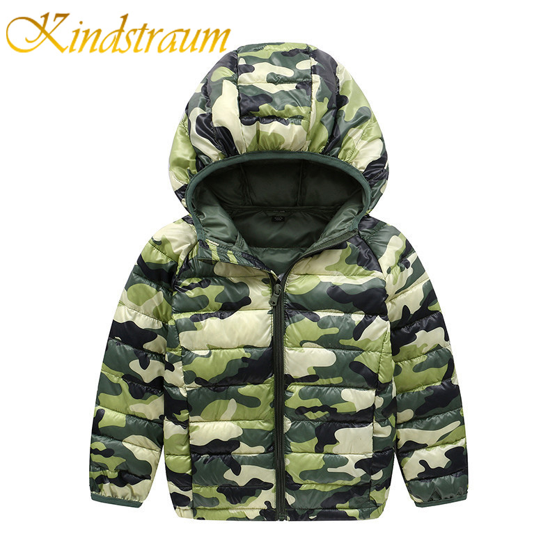 Kindstraum Kids Winter Cotton Jacket Camouflage for Boys Girls Casual Hooded Coat 2017 New Children School Fashion Outwear,MC820 2016 winter thin down jacket fashion girls boys cotton hooded coat children s jacket outwear kids casual striped outwear 16a12