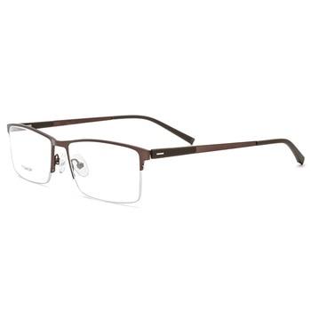 a0e2e5fc3e EOOUOOE titanio hombre Opticas Gafas Semi-Montura Gafas Oculos Gafas de sol  de hombre Gafas clásicas Gafas