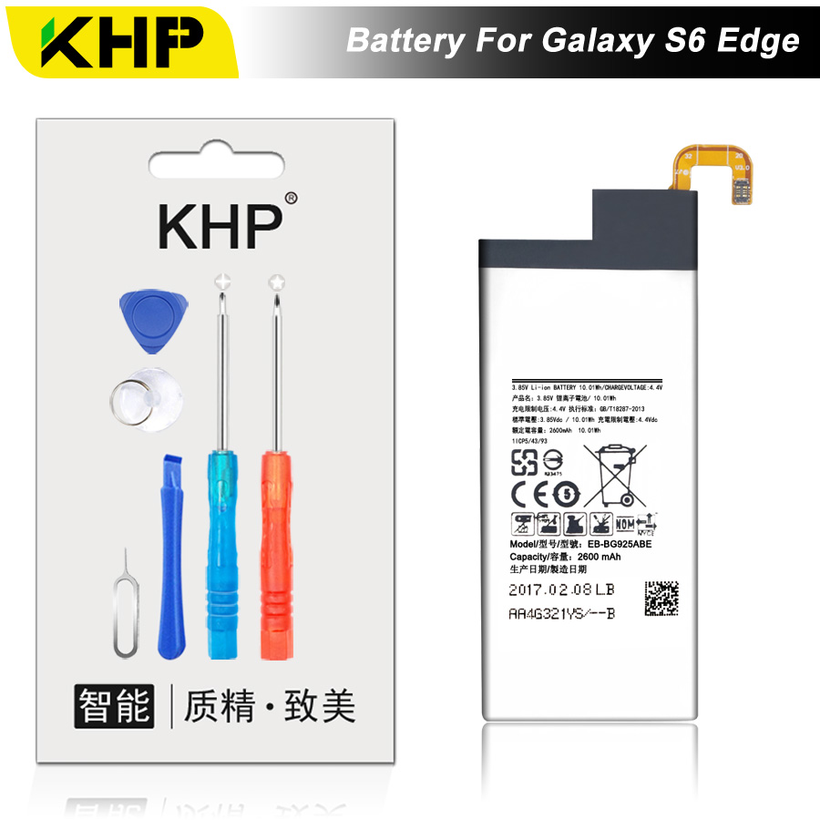 NEW 2019 100% Original KHP EB-BG925ABE Phone Battery For Samsung Galaxy S6 Edge G9250 G925F Battery Replacement Mobile BatteryNEW 2019 100% Original KHP EB-BG925ABE Phone Battery For Samsung Galaxy S6 Edge G9250 G925F Battery Replacement Mobile Battery