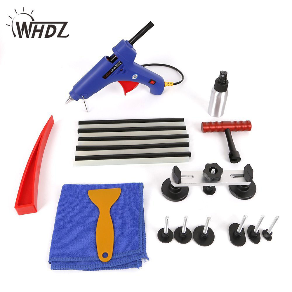 17pcs PDR Tools Kit Dent & Ding Paintless Dent Removal Repair Tool Kits Pdr Glue Puller 5 second fix liquid plastic welding kit uv light repair tool glue kit