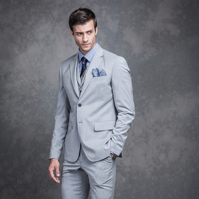 2018 Best Men Notches Lapel Groom Tuxedos Light Grey Two Buttons Man ...