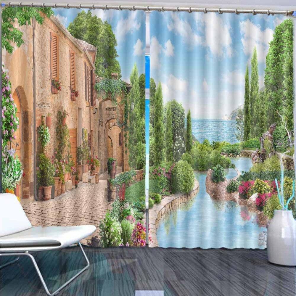 Jardin européen ville 3D rideaux pour chambre enfants salon rideaux tissu Polyester ensemble avec crochets vente directe d'usine