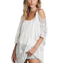 2017 mujeres beach dress correa sexy escarpado floral del cordón del ganchillo bordado vestidos de verano del hippie de boho dress vestidos beach wear c13
