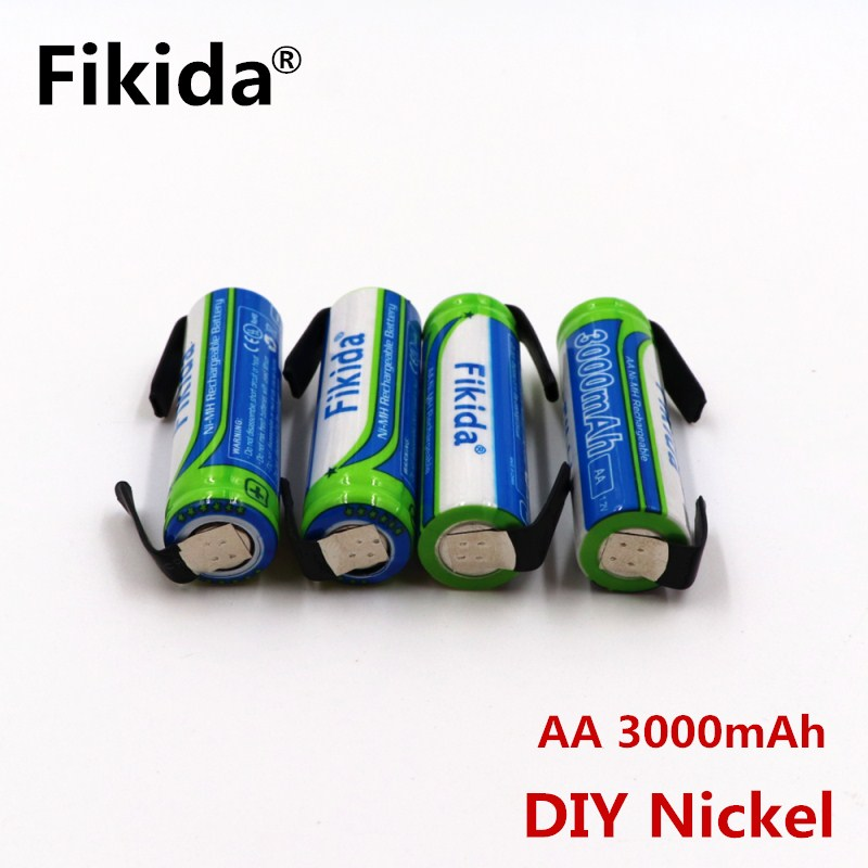 Fikida 1.2V AA Rechargeable battery 3000mAh NI-MH cell pack with tabs pins for Braun electric shaver toothbrush+DIY Nickel цена 2017