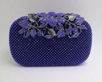New Red Royal Blue Crystal Evening Bags And Clutches With Flowers For Womens Party Wedding Prom