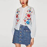 2017 Autumn Women Foral Za Style Embroidery Blouses Za Shirt Cotton High Quality Womens Camisa Loose
