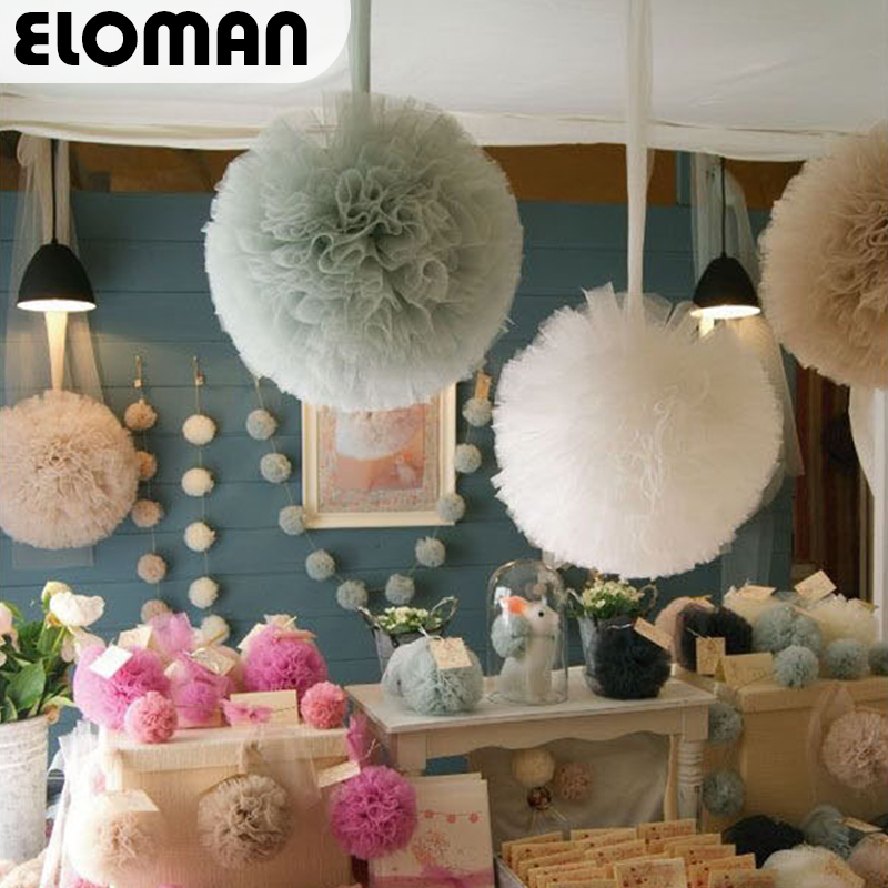 ELOMAN  15-35cm Tulle Pom Poms Wedding Birthday Party Baby Shower Backdrop Decorations 100% Handmade Tulles Ball DIY Supplies