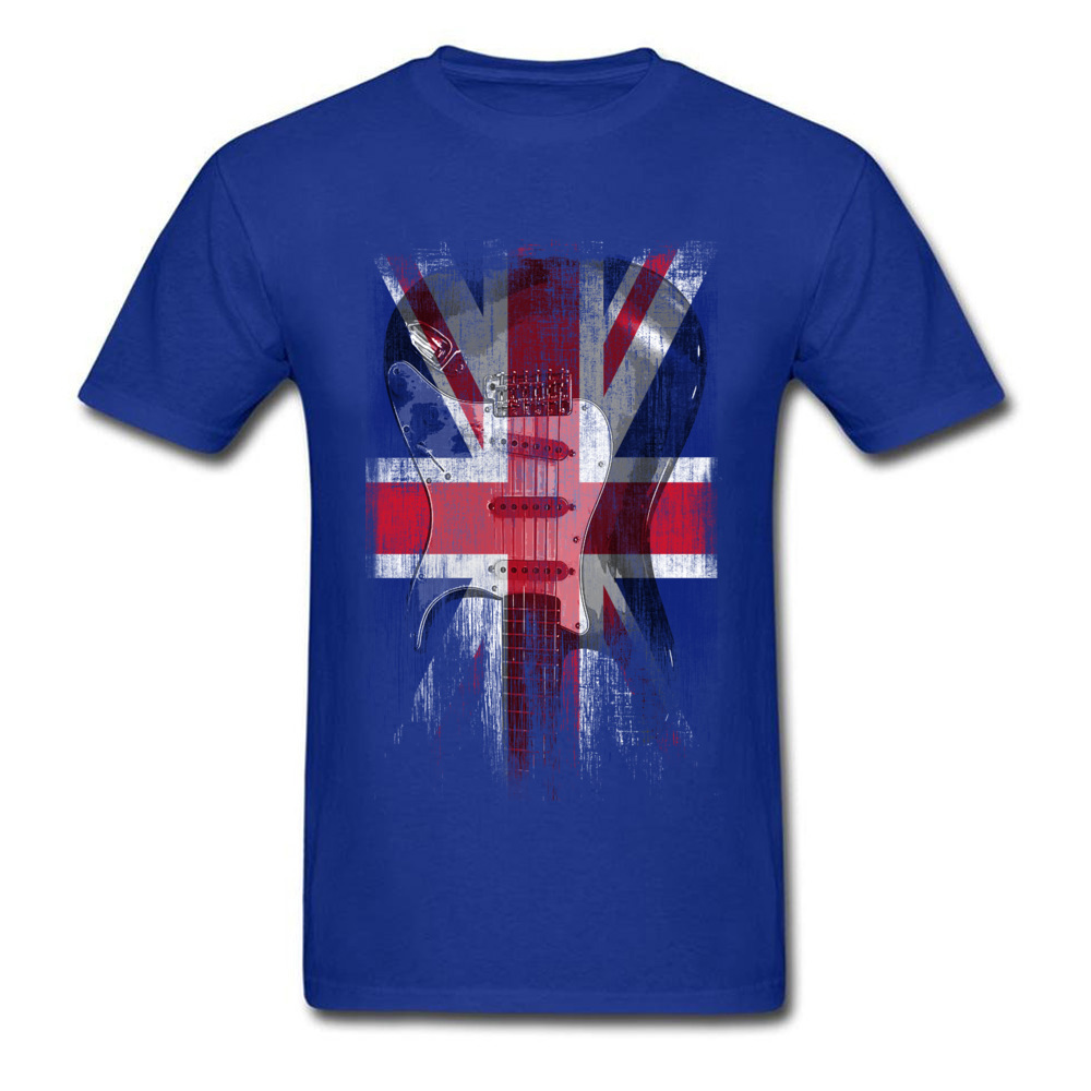 Distress Guitar flag United Kingdom Crew Neck Top T-shirts ostern Day Design Tops Shirt 2018 Newest Cotton Fabric Tee Shirts Men Distress Guitar flag United Kingdom blue