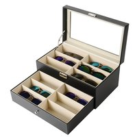 12 Grids Double Layer Design Sunglasses Storage Case Luxury PU Leather Sunglasses Shop Display Box Case