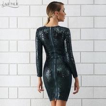 Adyce Bandage Dress 2018 Chic Sequin Dress Luxury Celebrity Evening Party Dresses V Neck Long Sleeve Bodycon Dress Free Shipping