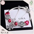 Hot Sale Top Quality Red Love Heart Charm Series Famous Brand 925 Authentic Silver Charm Bracelet