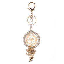 Auto Car Keychain Handmade Braided Dream Catcher Key Chain Leather Rope Nylon Rings Holder Accessories