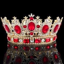 Lujosos Tiara de flores de cristal corona tocado graduación reina rey corona para boda Tiaras y coronas accesorios de joyas para el pelo