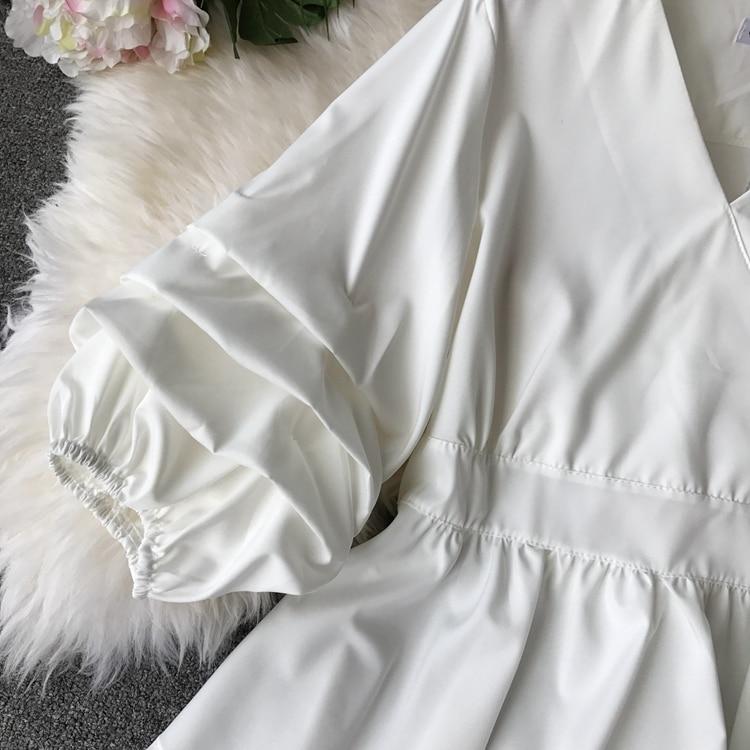 2109 Spring Women V-neck Puff Sleeves Blouse Slim Tunic Tops Retro Vintage Pullovers Busos Para Mujer Kimonos 90