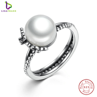 Authentic 100 925 Sterling Silver Rings With Simulated Pearl For Women Finger Ring Female Fashion Jewelry