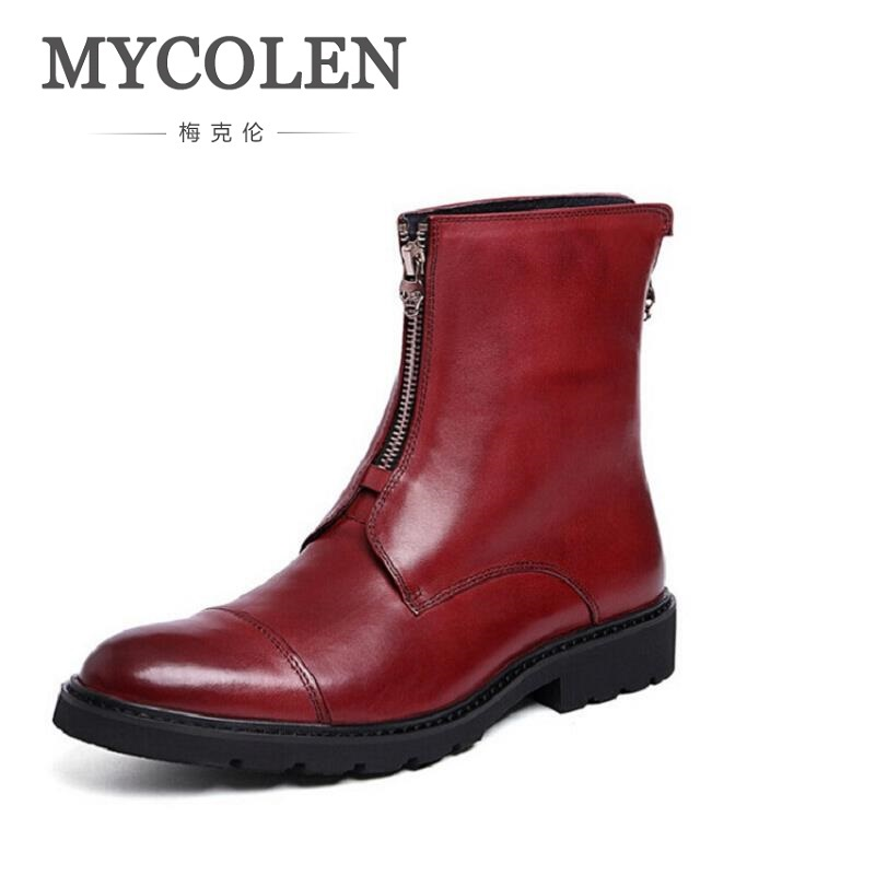 7c6a08cde43 MYCOLEN 2018 Europe Style Autumn Winter New Chelsea Boots Men Genuine  Leather Zipper Boots Personality Cowhide Boots