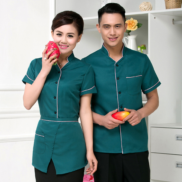 Well known Hotel uniforms short sleeve summer female catering farmhouse  TR08