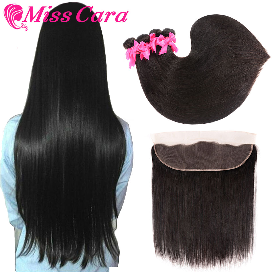 Hair-Bundles Closure Human-Hair Frontal Straight Miss-Cara Peruvian With 100%Remy 13--4