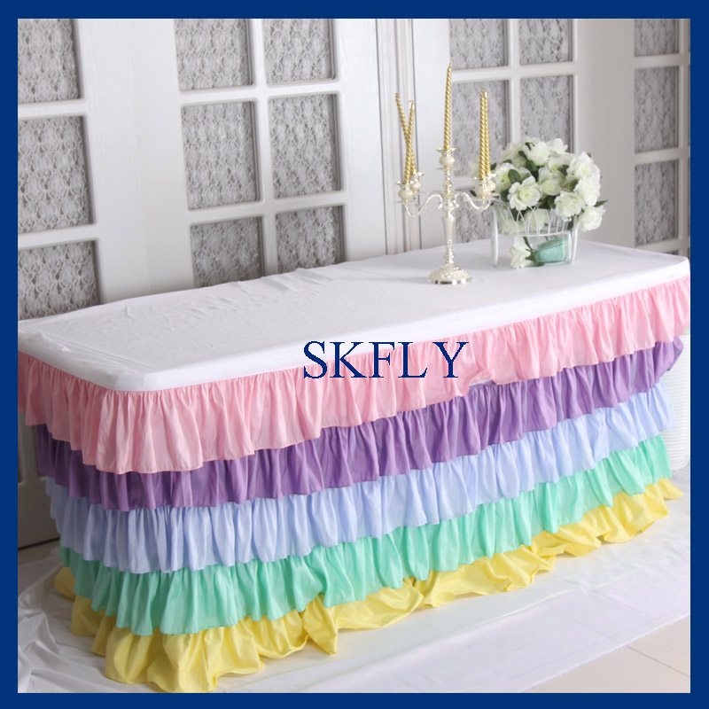 SK003A elegant 6ft rectangle taffeta colorful rainbow pastel ruffled layered table cloth with top or long