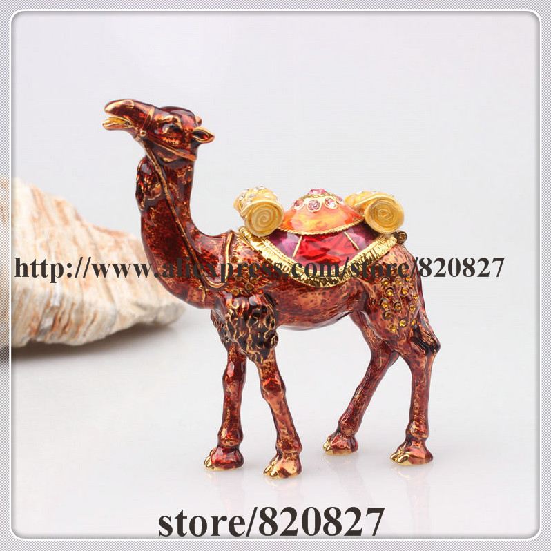 Miniature Dark Brown Camel Enamel Figurine with Czech Element Crystals Trinket Pill Jewelry Box free shipping parts timing pitch three page fan head desktop mute fans