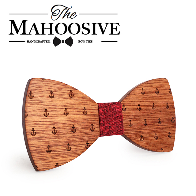 MAHOOSIVE Classic Captain Wood Bow Ties Wooden Butterfly Bowknots Gravatas Cravat