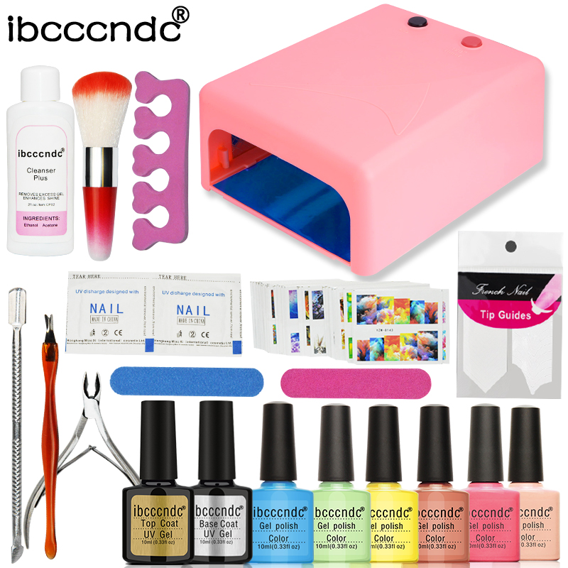 Ibcccndc Nail Art Manicure Tools 36W UV Lamp + 6 Color 10ml Soak off Nail Gel Base Top Coat Polish Remover Practice Set File Kit pro nail art set manicure tools 36w uv lamp 10 color 7ml soak off gel nail base gel top coat polish remover false nail tips kit