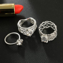 1 Set Zircon Lines Vintage Knuckle Rings for Women Boho Geometric Flower Crystal Ring Set Bohemian Finger Jewelry(China)