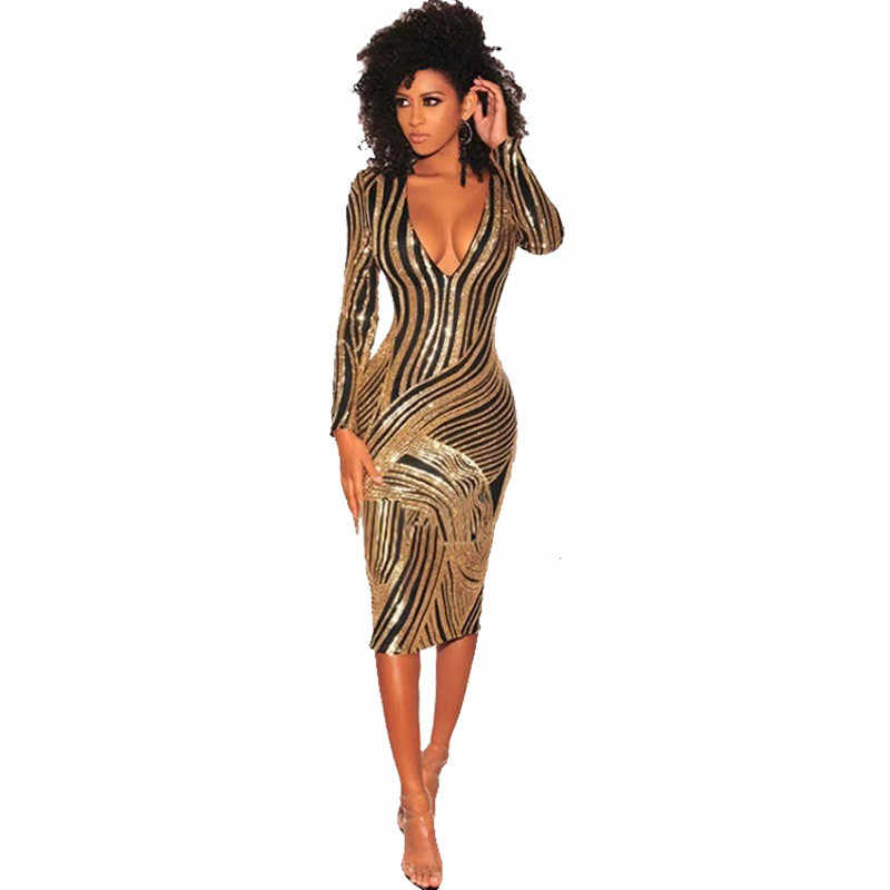 eb8b0bdc41 Detail Feedback Questions about Women Gold Sequin Dress Sexy V Neck ...