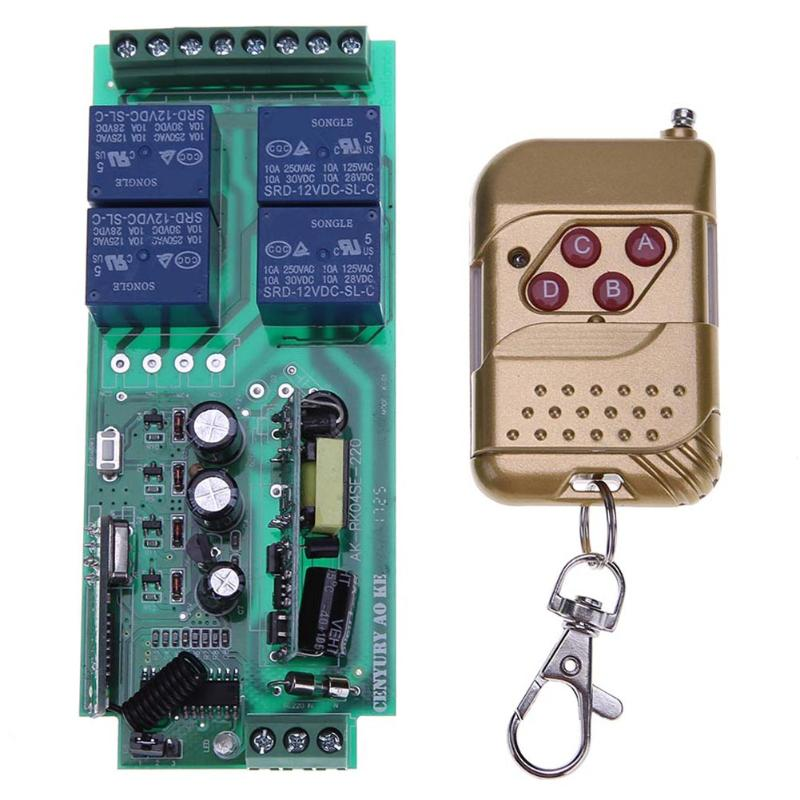 цена на Universal AC 85-250V 4 Channel Wireless Remote Control Relay Switch Module + Four Key Remote Control 433mhz for Garage Gate Door