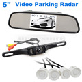 DIYKIT 5 Inch Rear View Car Mirror Monitor Kit + Video Parking Radar + IR Rear View Car Camera Parking Assistance System
