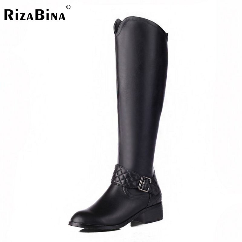 Women Genuine Leather Round Toe Knee Boots Woman Square Heel Zipper Botas New Knight Boots Woman Shoes Size 33-46 2017 new arrival winter plush genuine leather basic women boots knight zipper round toe low heel knee high boots zy170904