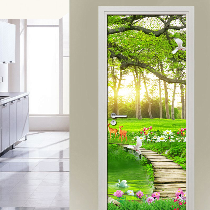 3D Green Forest Natural Landscape Door Stickers DIY Mural Bedroom Door Wall Paper Decor Poster PVC Waterproof Wall Sticker Decal