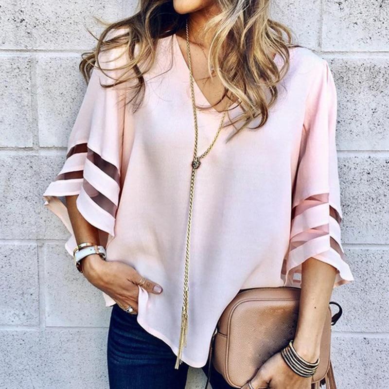 Women 3/4 Flare Sleeve Chiffon Blouse Summer Autumn V Neck Loose Tops Mesh Stitching Tunic Shirt Plus Size