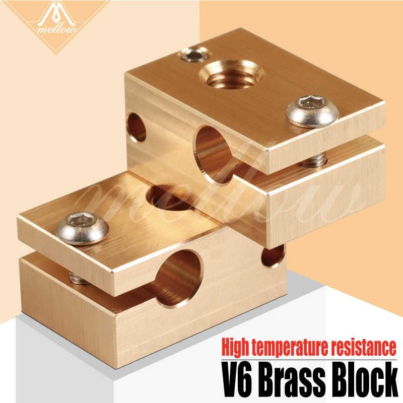 Mellow Hohe Qualität Alle-metall Dual Extrusion V6 Messing Heizung Block Für Hohe Temperatur Pt100 J-kopf 3d drucker E3d Hotend