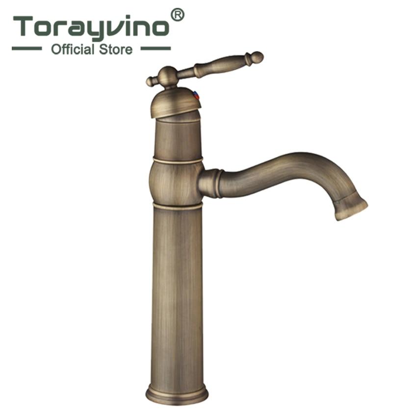 где купить Torayvino Bathroom Antique Brass Swivel Spout Deck Mounted Basin Single Handle Bathroom Vessel Sink Mixer Tap Faucet по лучшей цене