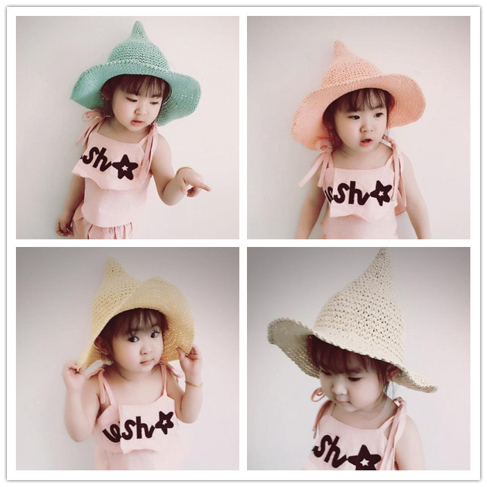 XINGMING gorro de paja sólido para niños, gorro de pescador tejido, sombrero de moda para niñas, accesorios de sombrero con forma de bruja