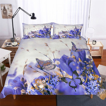Bedding Set 3D Printed Duvet Cover Bed Flowers Butterfly Home Textiles for Adults Lifelike Bedclothes with Pillowcase #XH01