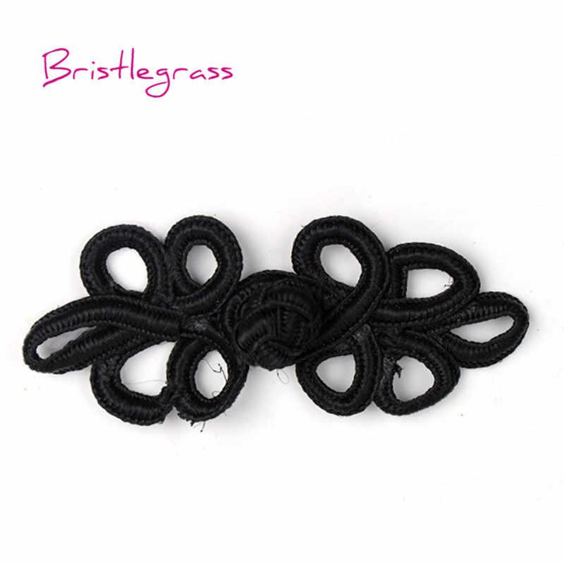 BRISTLEGRASS 5 Çift El Yapımı Siyah Yaprak Çin Düğüm Düğmesi Kurbağa Kapatma Şerit Raptiye Cheongsam Kostüm Takım DIY Dikiş El Sanatları