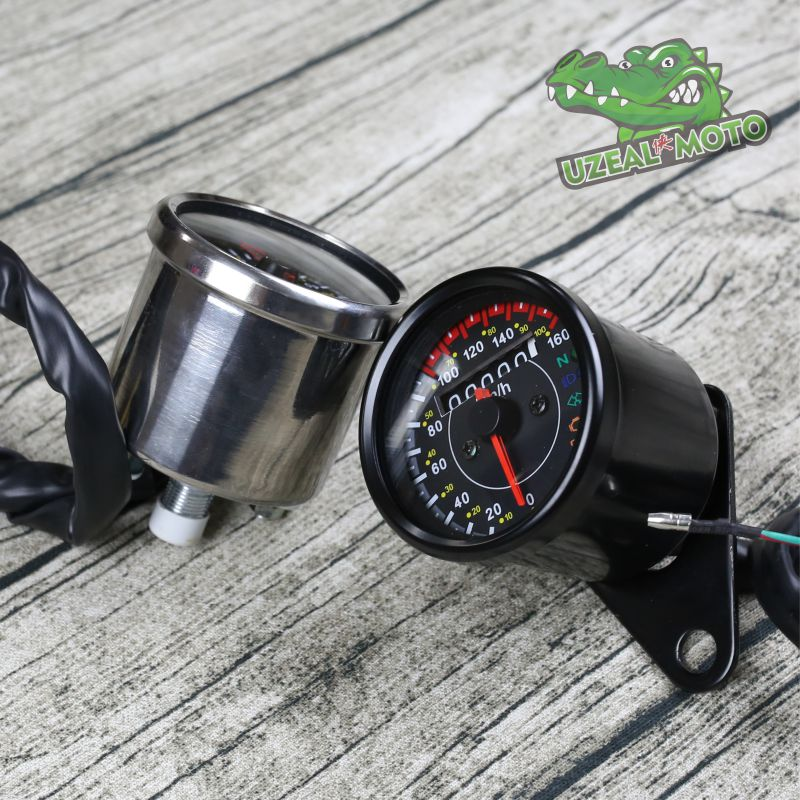 Retro motorcycles custom universal mini Stainless steel mechanical odometer speedometer mash in Instruments from Automobiles Motorcycles