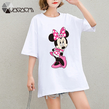 Summer Clothes For Women Minnie Mickey Mouse Tops Tee Short Sleeve Black Fashion Loose Cartoon Plus Size T Shirts Casual