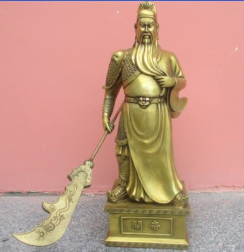 P6643 19.3 Inch / China Will Hand Hammer Bronze Statue Of Guan Gong Dragon Sword