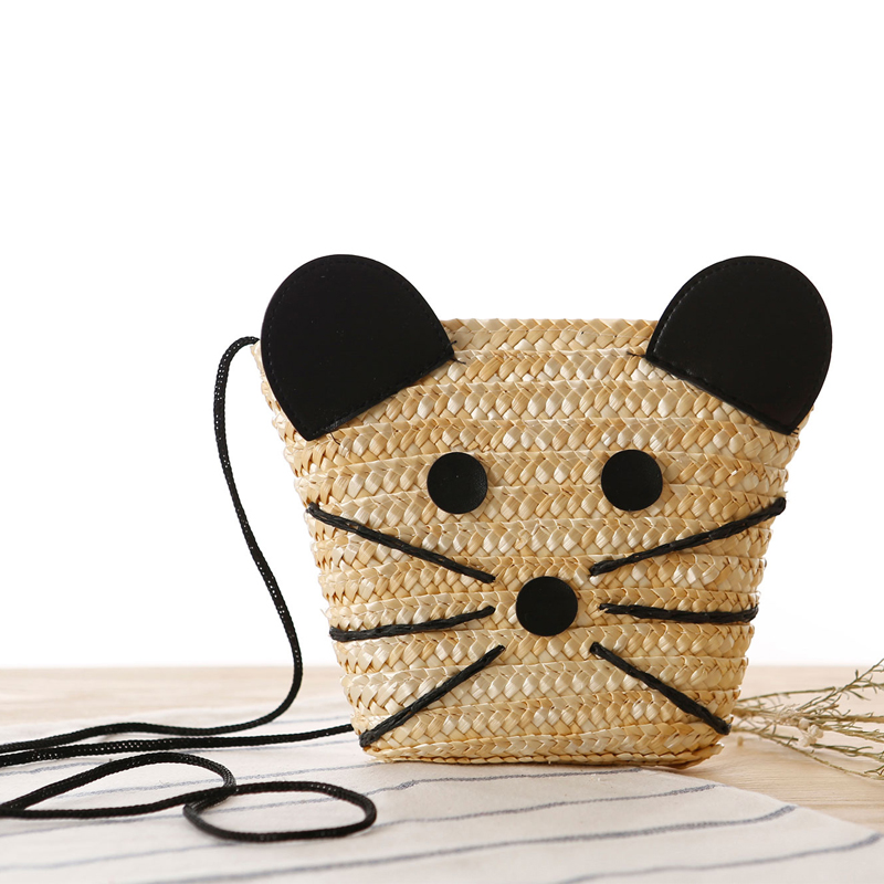 Knitted Straw Bag Summer Fashion Women s Handbags Cat Shoulder Bags Beach Bag Big Tote Bags