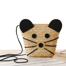 Knitted Straw Bag Summer Fashion Women's Handbags Cat Shoulder Bags Beach Bag Big Tote Bags