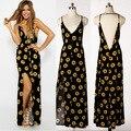 Venda quente das mulheres vestidos de verão robe sexy long summer dress tx703-w sunflower sweet v-neck dress s-xl