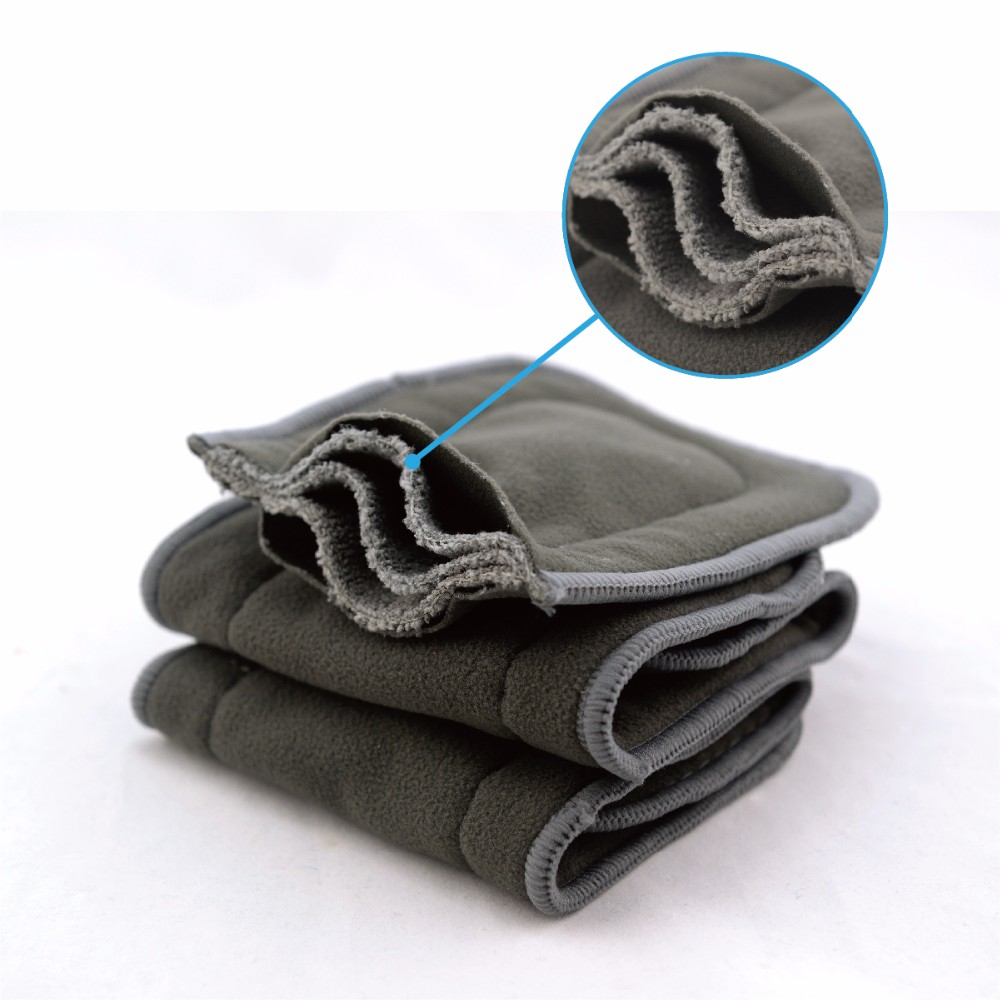 AlVABABY 5-Layer Bamboo/Â/Charcoal/Â/Viscose/Â/Staple/Â/Fiber Inserts// Reusable Liners for Cloth Diapers with Gussets 6PCS 6FLN