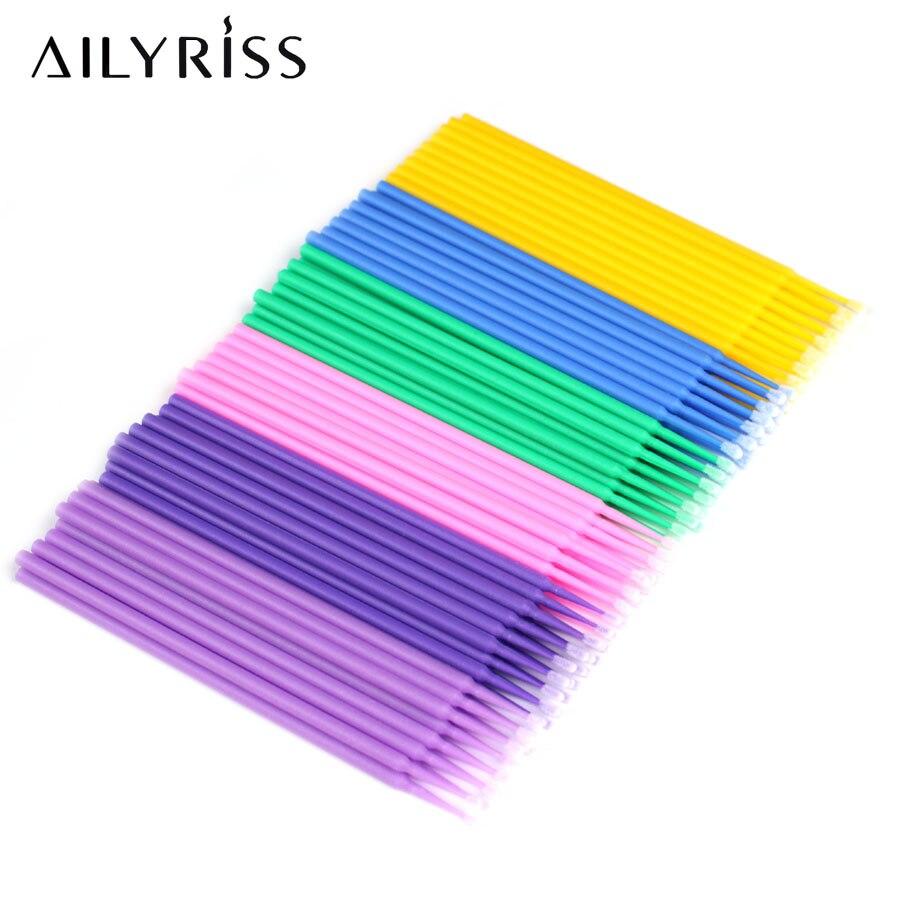 Micro Brushes Make Up Eyelash Extension 100/200/300pcs Disposable Eye Lash Glue Cleaning Brushes Free Applicator Sticks Makeup