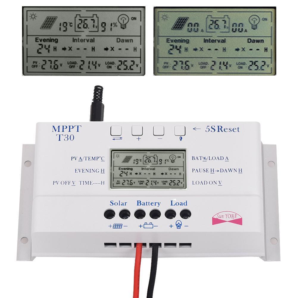 ФОТО Solar Panel Regulator LCD 30A 12V/24V MPPT Charge Controller &USB Three timer A391 APJ