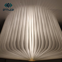 Wooden Foldable LED Book Lamp USB Rechargeable Luminaria Book Nightlight warm light Booklight Use For Decor Desk Table Lamp Gift