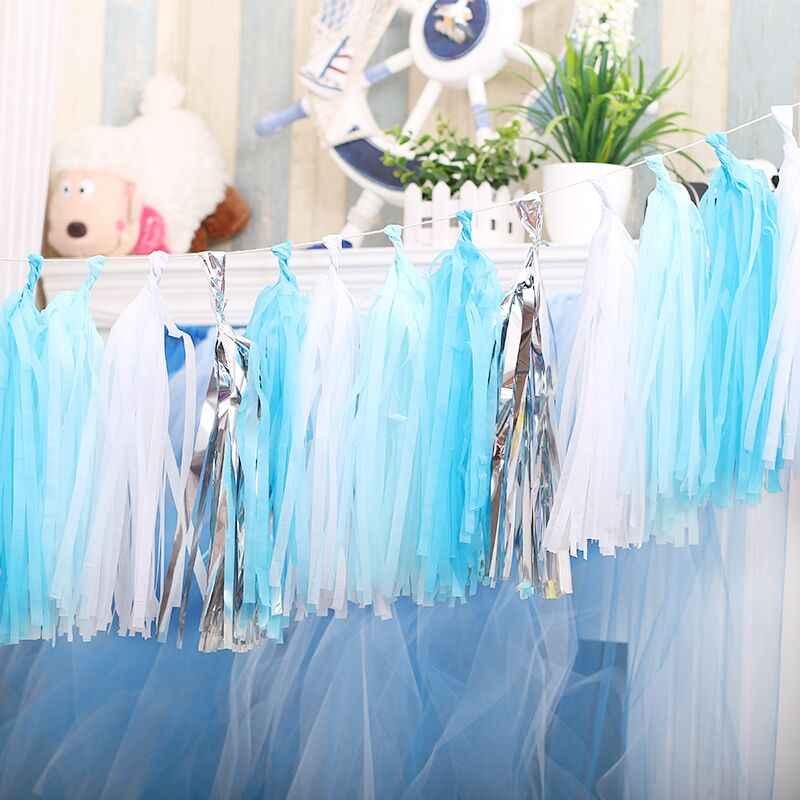 1 Упак. бумага металлик мята кисточкой Гирлянда бахрома Свадьба День рождения декоративный фон баннер шары хвосты пол раскрыть подарки