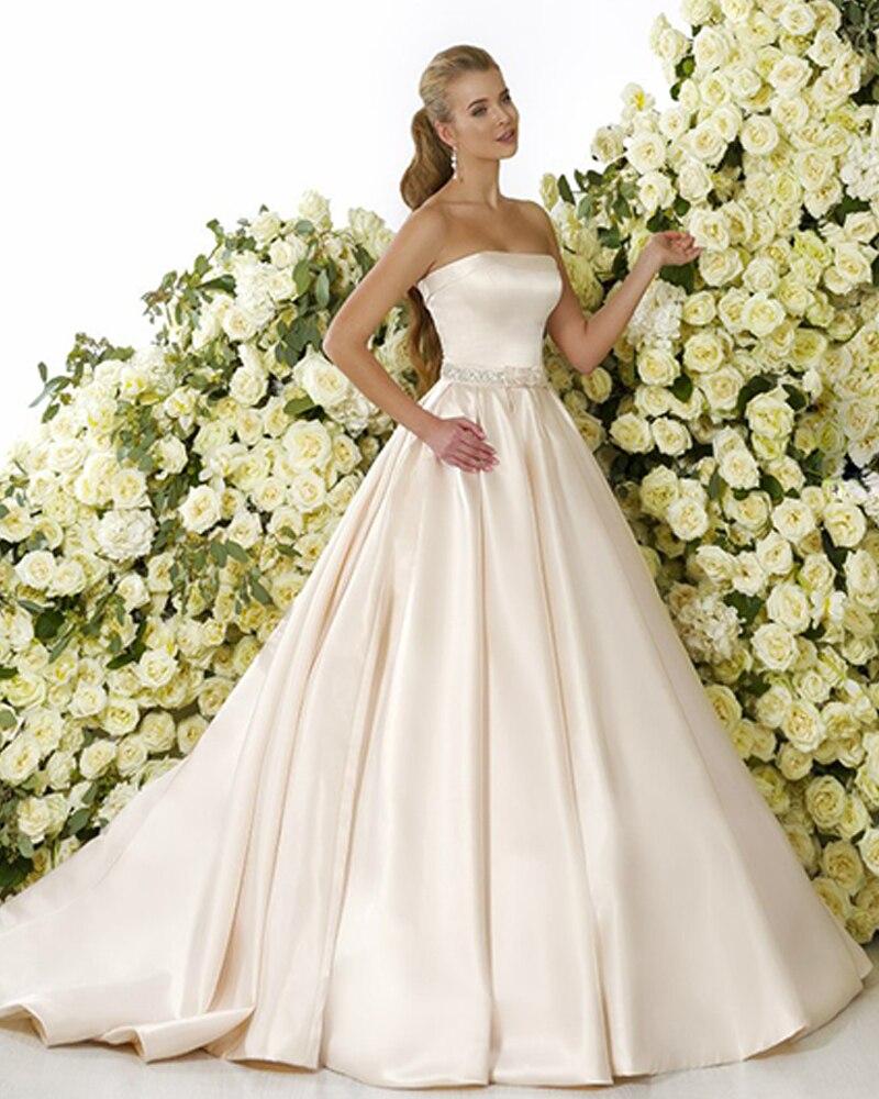 Vestido De Noiva Satin Wedding Dresses 2019 Backless Robe De Mariee Simple Abiti Da Sposa Off Shoulder Trouwjurk Bridal Gown